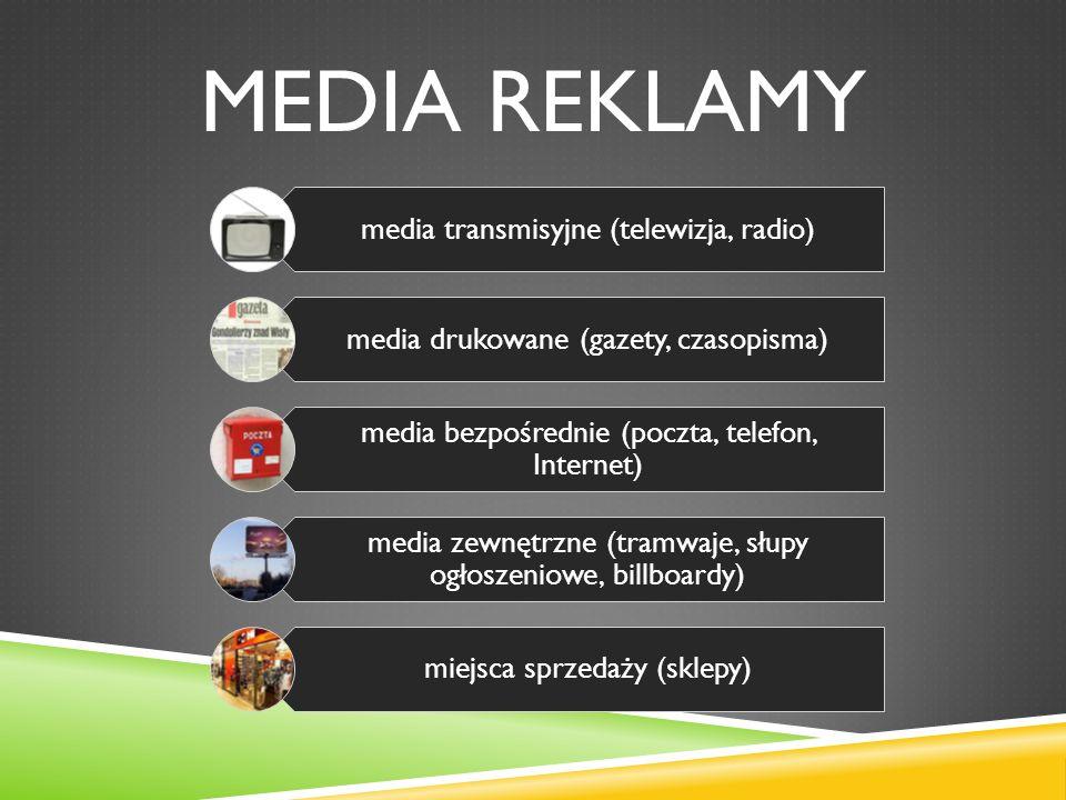 MEDIA REKLAMY media transmisyjne (telewizja, radio) media drukowane (gazety, czasopisma) media bezpośrednie (poczta, telefon, Internet) media zewnętrzne (tramwaje, słupy ogłoszeniowe, billboardy) miejsca sprzedaży (sklepy)