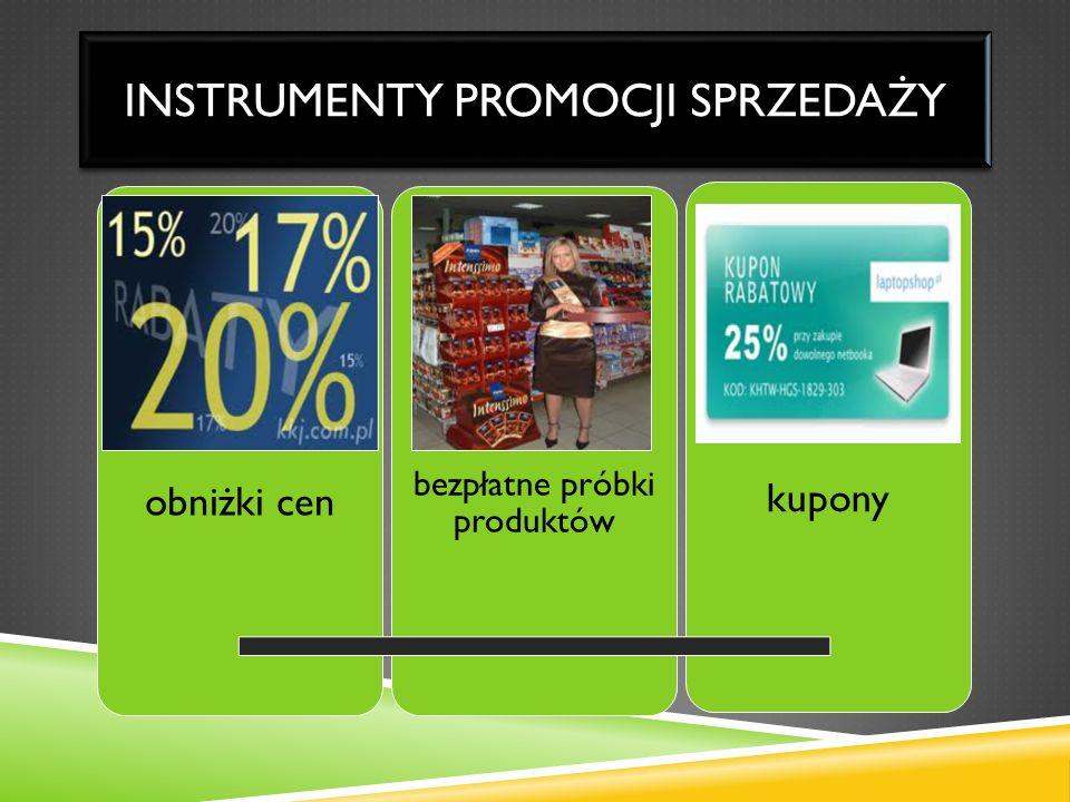INSTRUMENTY PROMOCJI SPRZEDAŻY obniżki cen bezpłatne próbki produktów kupony