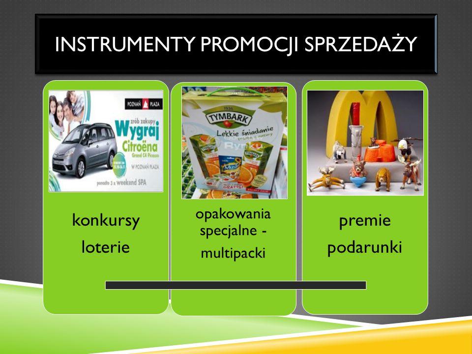 INSTRUMENTY PROMOCJI SPRZEDAŻY konkursy loterie opakowania specjalne - multipacki premie podarunki