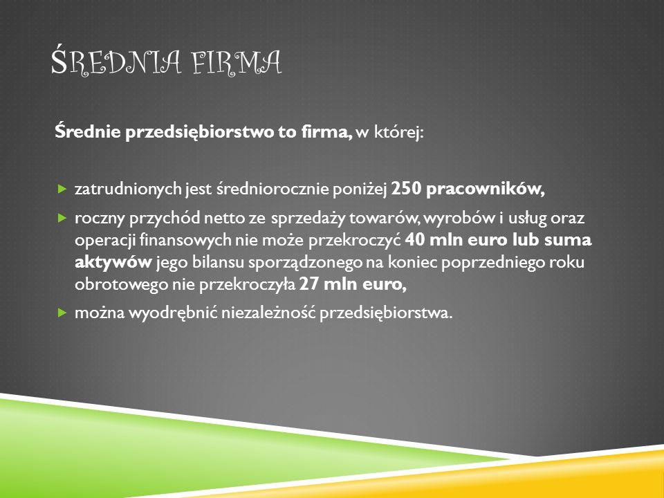 Ś REDNIA FIRMA Średnie przedsiębiorstwo to firma, w której: zatrudnionych jest średniorocznie poniżej 250 pracowników, roczny przychód netto ze sprzedaży towarów, wyrobów i usług oraz operacji finansowych nie może przekroczyć 40 mln euro lub suma aktywów jego bilansu sporządzonego na koniec poprzedniego roku obrotowego nie przekroczyła 27 mln euro, można wyodrębnić niezależność przedsiębiorstwa.
