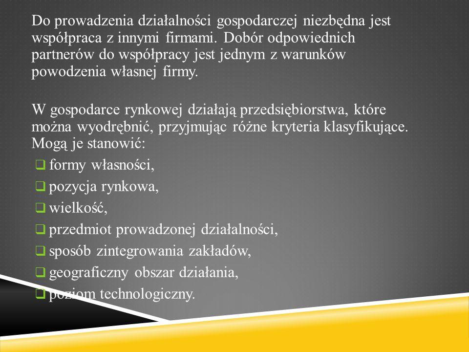 Do prowadzenia działalności gospodarczej niezbędna jest współpraca z innymi firmami.