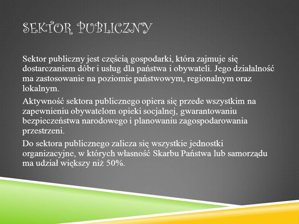 SEKTOR PUBLICZNY Sektor publiczny jest częścią gospodarki, która zajmuje się dostarczaniem dóbr i usług dla państwa i obywateli.