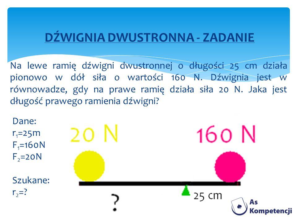 DŹWIGNIA DWUSTRONNA - ZADANIE Na lewe ramię dźwigni dwustronnej o długości 25 cm działa pionowo w dół siła o wartości 160 N. Dźwignia jest w równowadz