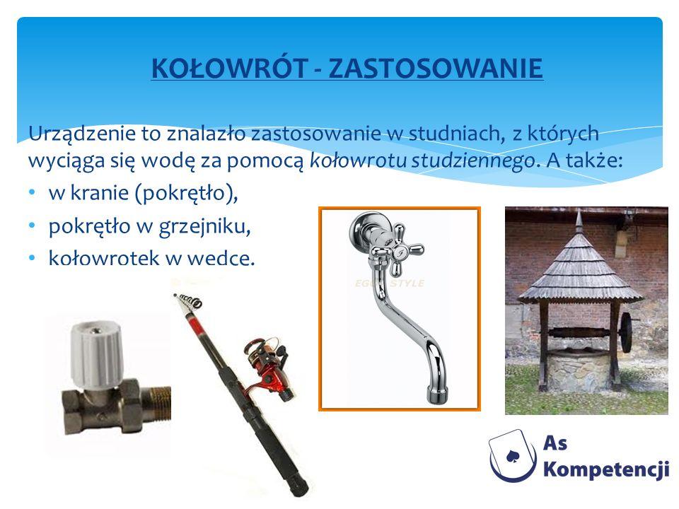 Urządzenie to znalazło zastosowanie w studniach, z których wyciąga się wodę za pomocą kołowrotu studziennego. A także: w kranie (pokrętło), pokrętło w
