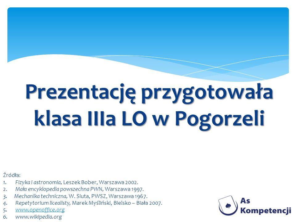 Prezentację przygotowała klasa IIIa LO w Pogorzeli Źródła: 1. Fizyka i astronomia, Leszek Bober, Warszawa 2002. 2. Mała encyklopedia powszechna PWN, W