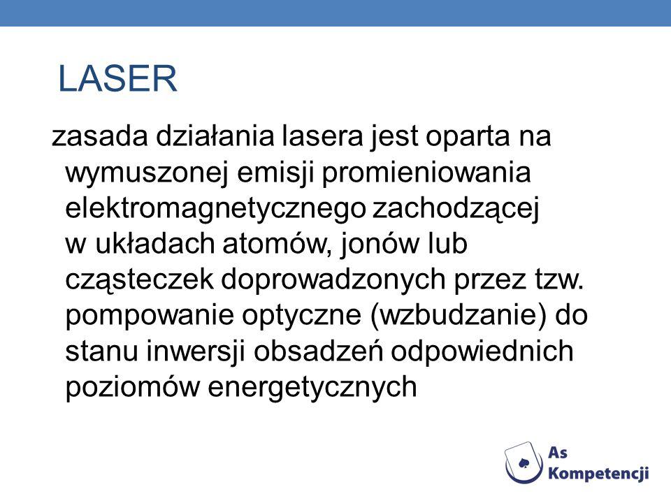 zasada działania lasera jest oparta na wymuszonej emisji promieniowania elektromagnetycznego zachodzącej w układach atomów, jonów lub cząsteczek dopro