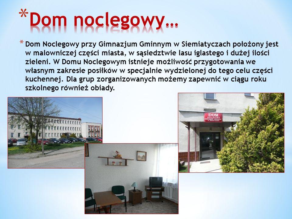 * Dom Noclegowy przy Gimnazjum Gminnym w Siemiatyczach położony jest w malowniczej części miasta, w sąsiedztwie lasu iglastego i dużej ilości zieleni.