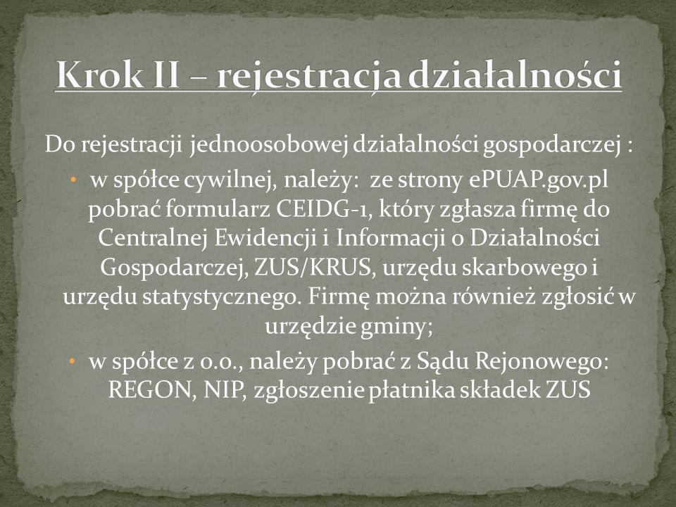 Do rejestracji jednoosobowej działalności gospodarczej : w spółce cywilnej, należy: ze strony ePUAP.gov.pl pobrać formularz CEIDG-1, który zgłasza fir