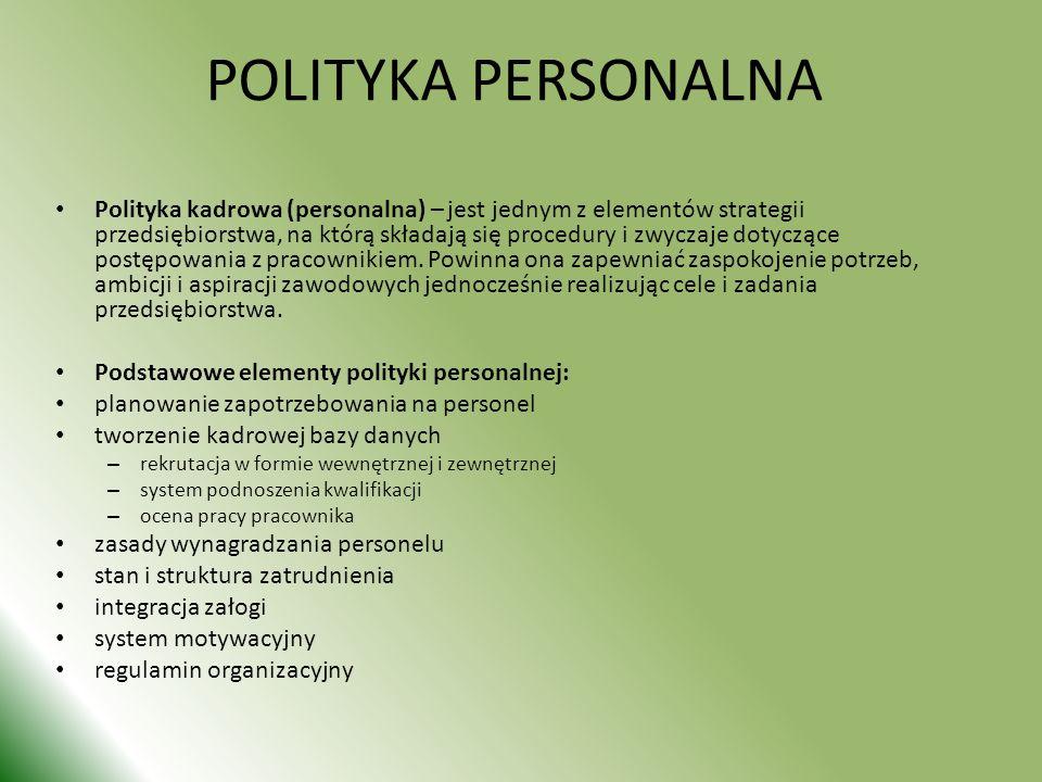 POLITYKA PERSONALNA Polityka kadrowa (personalna) – jest jednym z elementów strategii przedsiębiorstwa, na którą składają się procedury i zwyczaje dotyczące postępowania z pracownikiem.