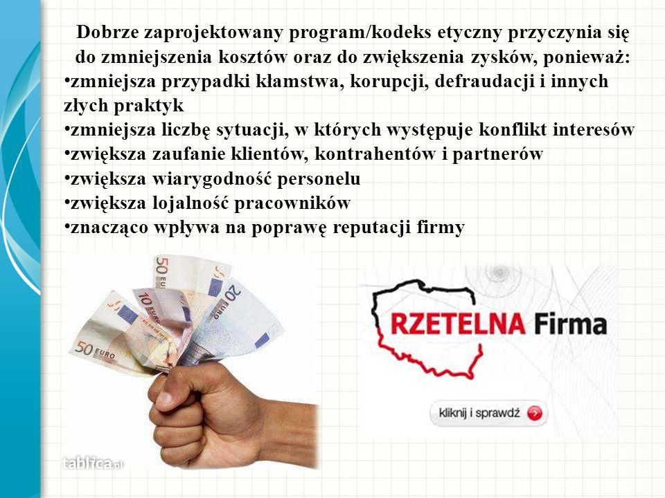 Dobrze zaprojektowany program/kodeks etyczny przyczynia się do zmniejszenia kosztów oraz do zwiększenia zysków, ponieważ: zmniejsza przypadki kłamstwa