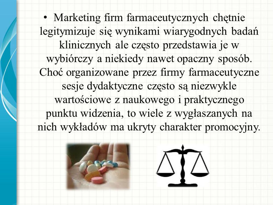 Marketing firm farmaceutycznych chętnie legitymizuje się wynikami wiarygodnych badań klinicznych ale często przedstawia je w wybiórczy a niekiedy nawe