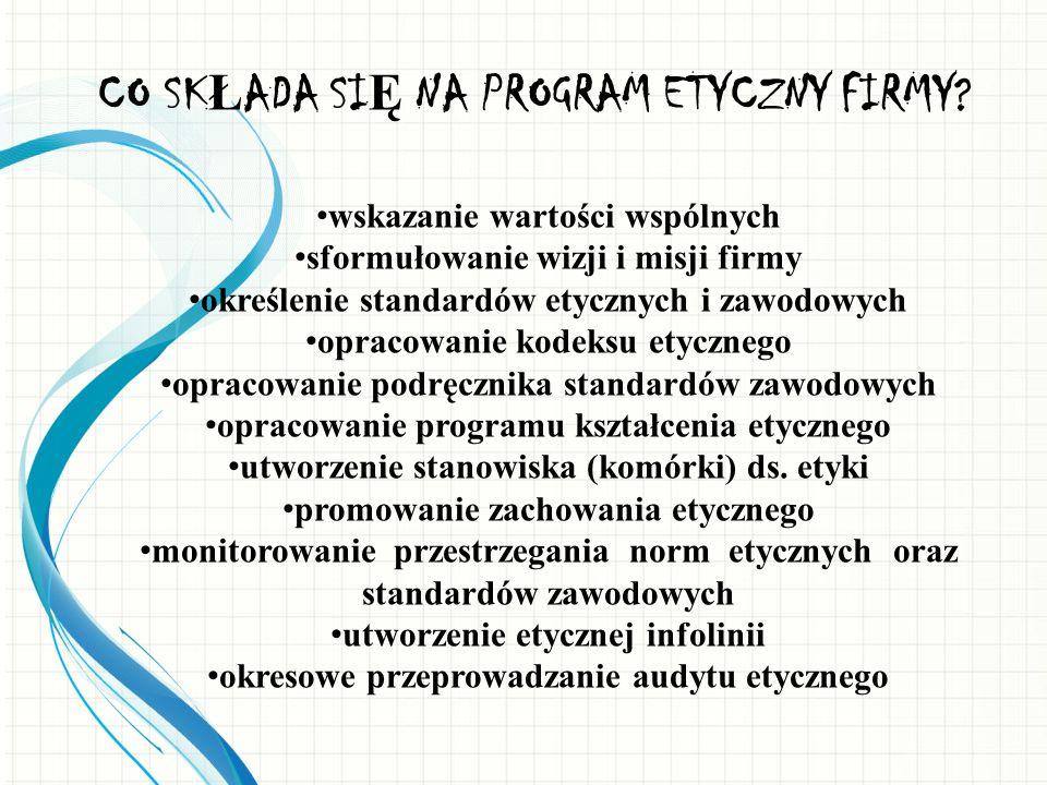 CO SK Ł ADA SI Ę NA PROGRAM ETYCZNY FIRMY? wskazanie wartości wspólnych sformułowanie wizji i misji firmy określenie standardów etycznych i zawodowych