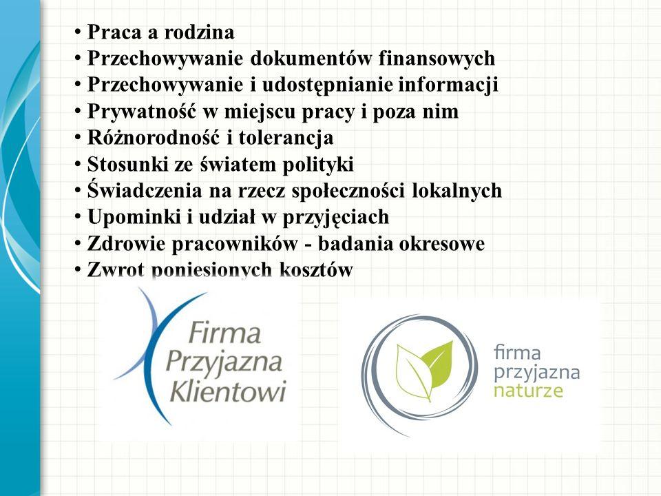 Praca a rodzina Przechowywanie dokumentów finansowych Przechowywanie i udostępnianie informacji Prywatność w miejscu pracy i poza nim Różnorodność i t