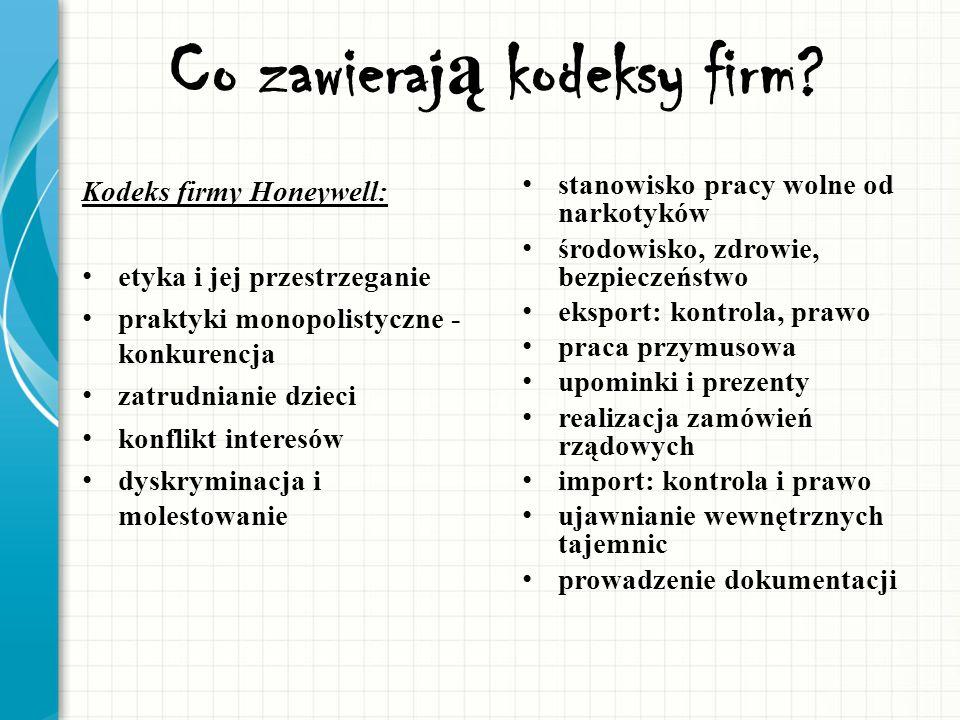 Co zawieraj ą kodeksy firm? Kodeks firmy Honeywell: etyka i jej przestrzeganie praktyki monopolistyczne - konkurencja zatrudnianie dzieci konflikt int
