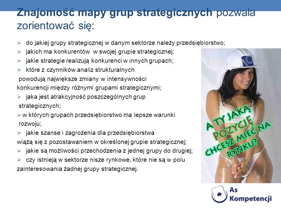 Znajomość mapy grup strategicznych pozwala zorientować się: do jakiej grupy strategicznej w danym sektorze należy przedsiębiorstwo; jakich ma konkurentów w swojej grupie strategicznej; jakie strategie realizują konkurenci w innych grupach; które z czynników analiz strukturalnych powodują największe zmiany w intensywności konkurencji między różnymi grupami strategicznymi; jaka jest atrakcyjność poszczególnych grup strategicznych; w których grupach przedsiębiorstwo ma lepsze warunki rozwoju; jakie szanse i zagrożenia dla przedsiębiorstwa wiążą się z pozostawaniem w określonej grupie strategicznej; jakie są możliwości przechodzenia z jednej grupy do drugiej; czy istnieją w sektorze nisze rynkowe, które nie są w polu zainteresowania żadnej grupy strategicznej.