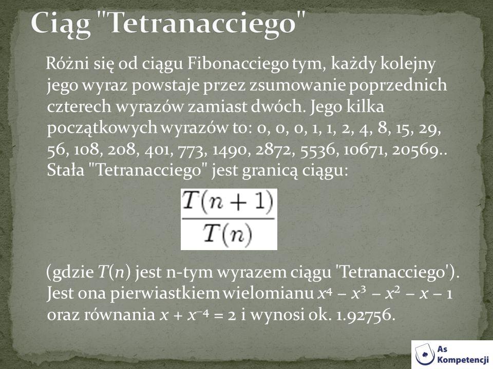 Różni się od ciągu Fibonacciego tym, każdy kolejny jego wyraz powstaje przez zsumowanie poprzednich czterech wyrazów zamiast dwóch. Jego kilka początk