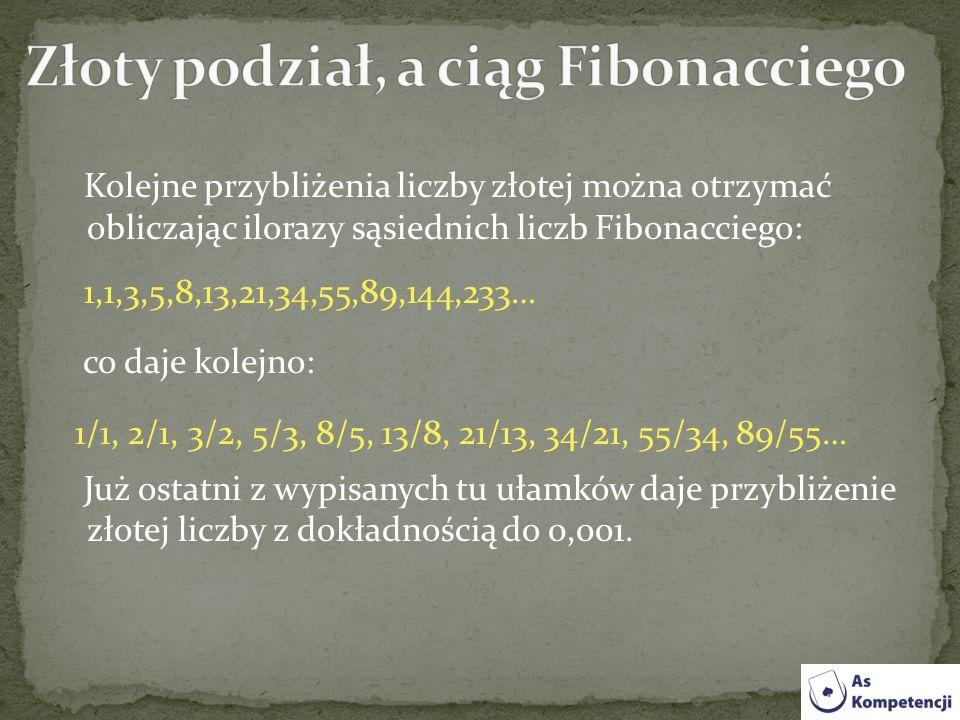 Kolejne przybliżenia liczby złotej można otrzymać obliczając ilorazy sąsiednich liczb Fibonacciego: 1,1,3,5,8,13,21,34,55,89,144,233… co daje kolejno: