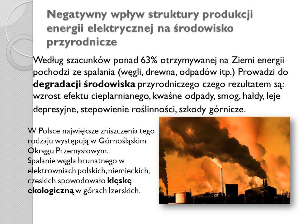 Negatywny wpływ struktury produkcji energii elektrycznej na środowisko przyrodnicze Według szacunków ponad 63% otrzymywanej na Ziemi energii pochodzi