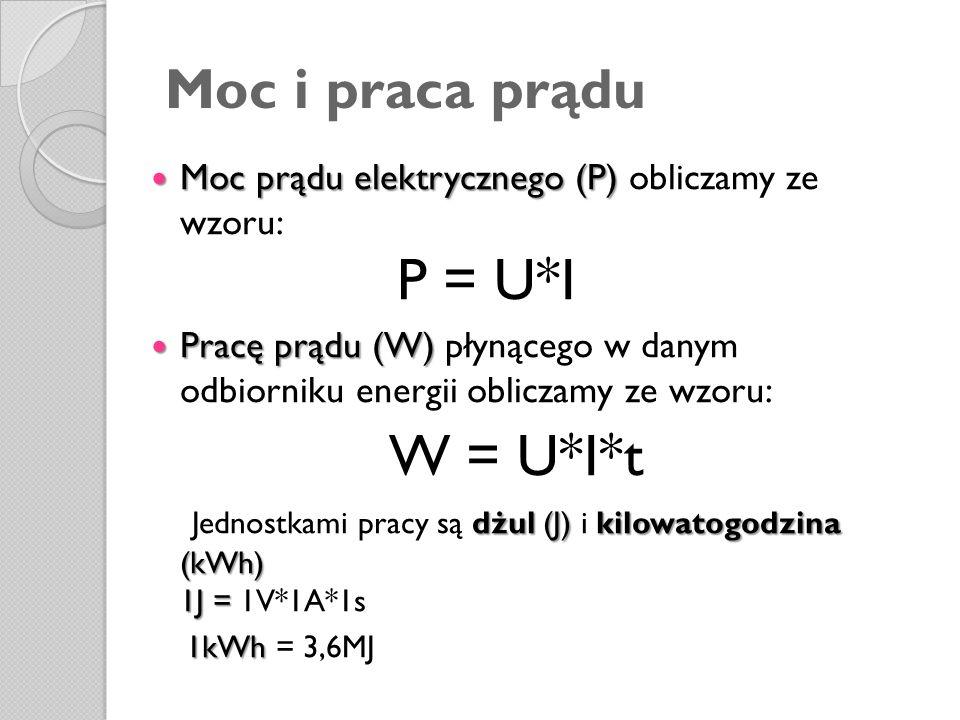 Moc i praca prądu Mocprądu elektrycznego (P) Moc prądu elektrycznego (P) obliczamy ze wzoru: P = U*I Pracę prądu (W) Pracę prądu (W) płynącego w danym