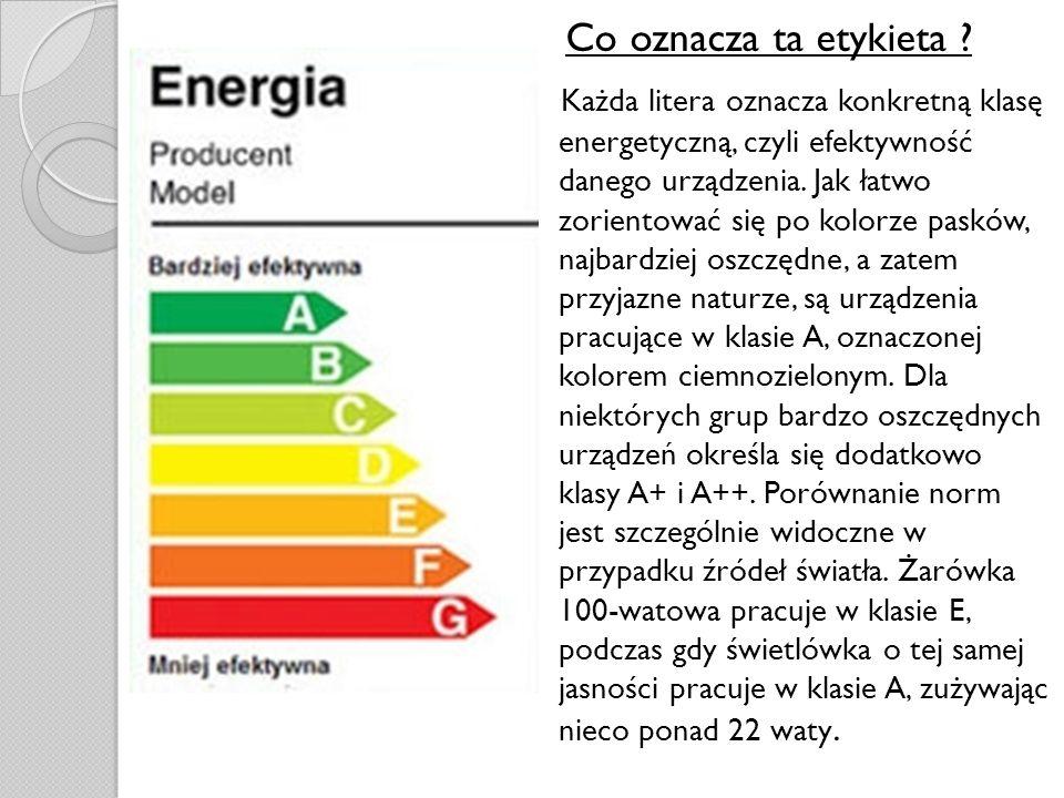 Co oznacza ta etykieta ? Każda litera oznacza konkretną klasę energetyczną, czyli efektywność danego urządzenia. Jak łatwo zorientować się po kolorze