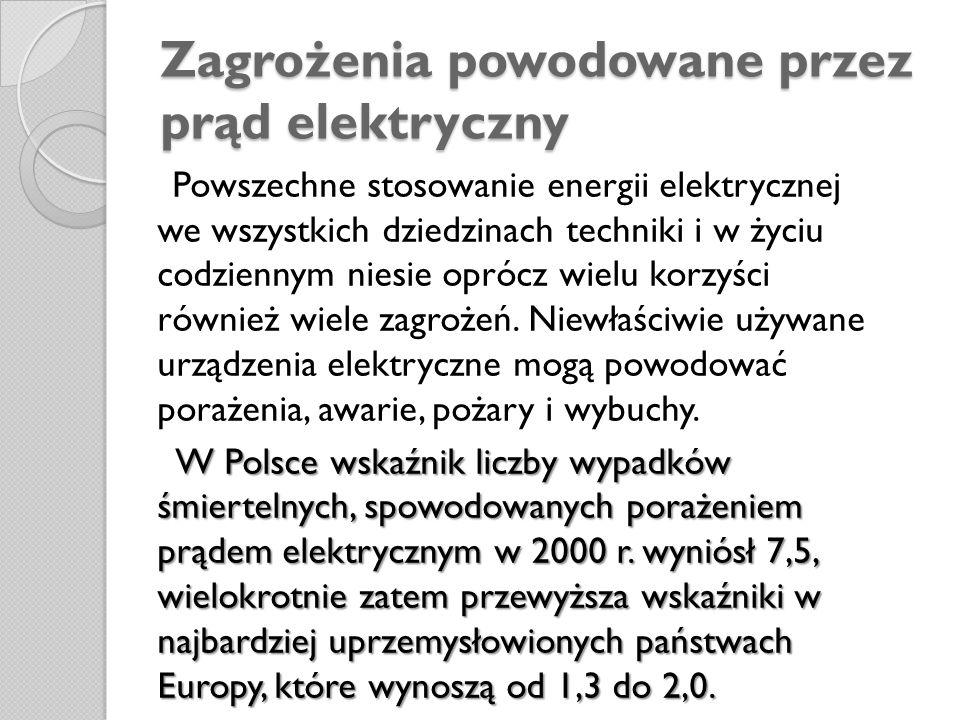 Zagrożenia powodowane przez prąd elektryczny Powszechne stosowanie energii elektrycznej we wszystkich dziedzinach techniki i w życiu codziennym niesie