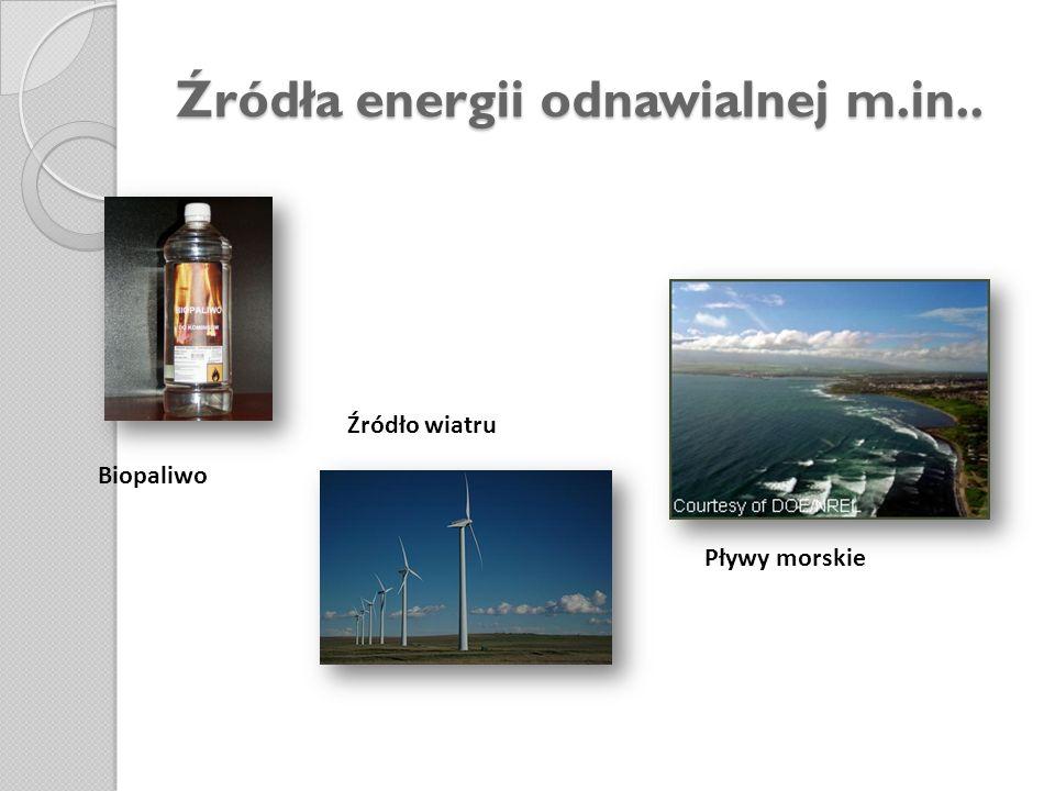 Źródła energii odnawialnej m.in.. Biopaliwo Źródło wiatru Pływy morskie