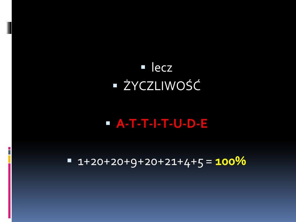 lecz ŻYCZLIWOŚĆ A-T-T-I-T-U-D-E 1+20+20+9+20+21+4+5 = 100%