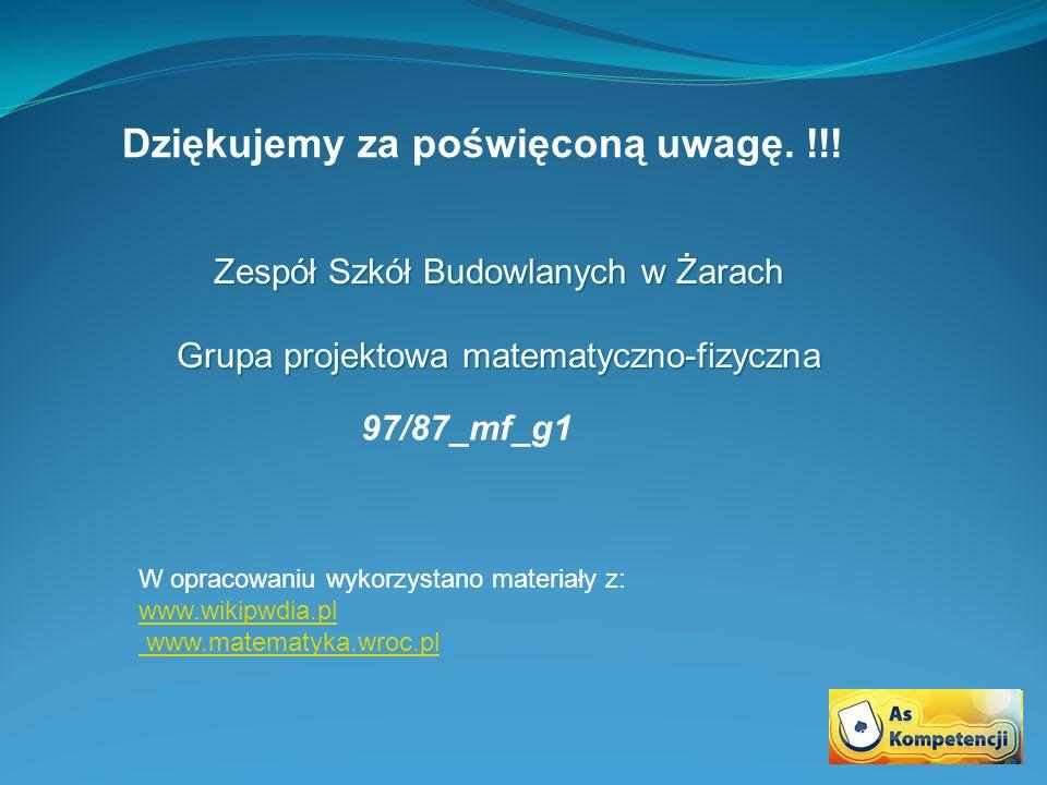 Zespół Szkół Budowlanych w Żarach Grupa projektowa matematyczno-fizyczna Dziękujemy za poświęconą uwagę.