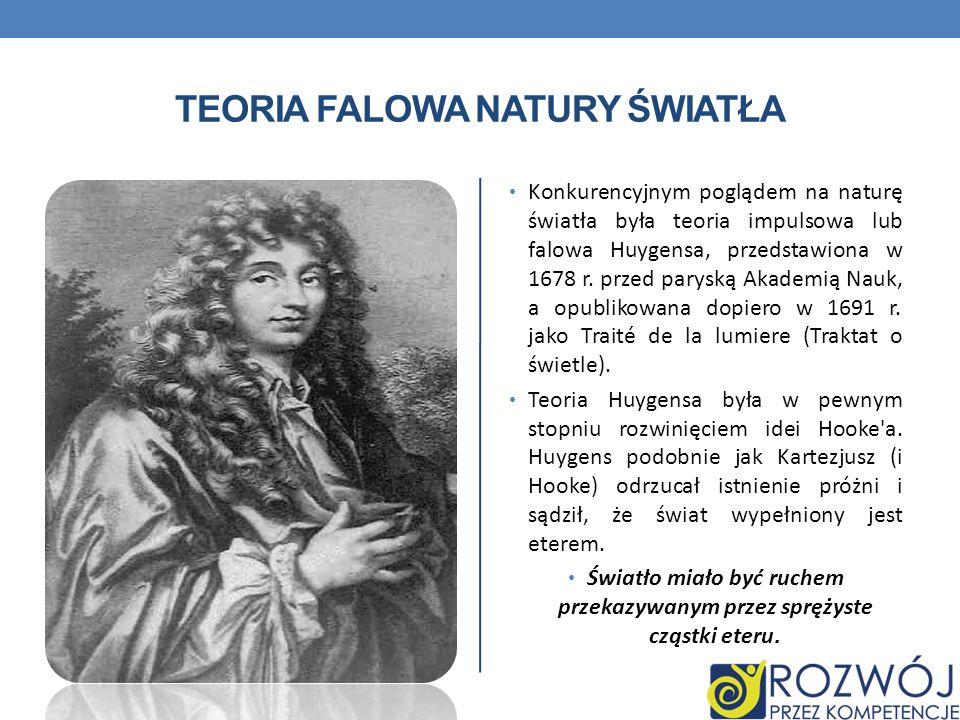 TEORIA FALOWA NATURY ŚWIATŁA Konkurencyjnym poglądem na naturę światła była teoria impulsowa lub falowa Huygensa, przedstawiona w 1678 r.