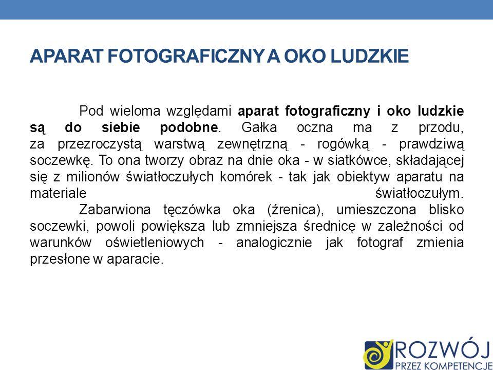 APARAT FOTOGRAFICZNY A OKO LUDZKIE Pod wieloma względami aparat fotograficzny i oko ludzkie są do siebie podobne.