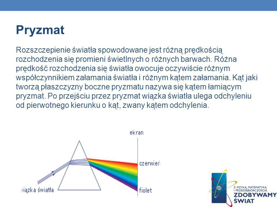 Pryzmat Rozszczepienie światła spowodowane jest różną prędkością rozchodzenia się promieni świetlnych o różnych barwach. Różna prędkość rozchodzenia s