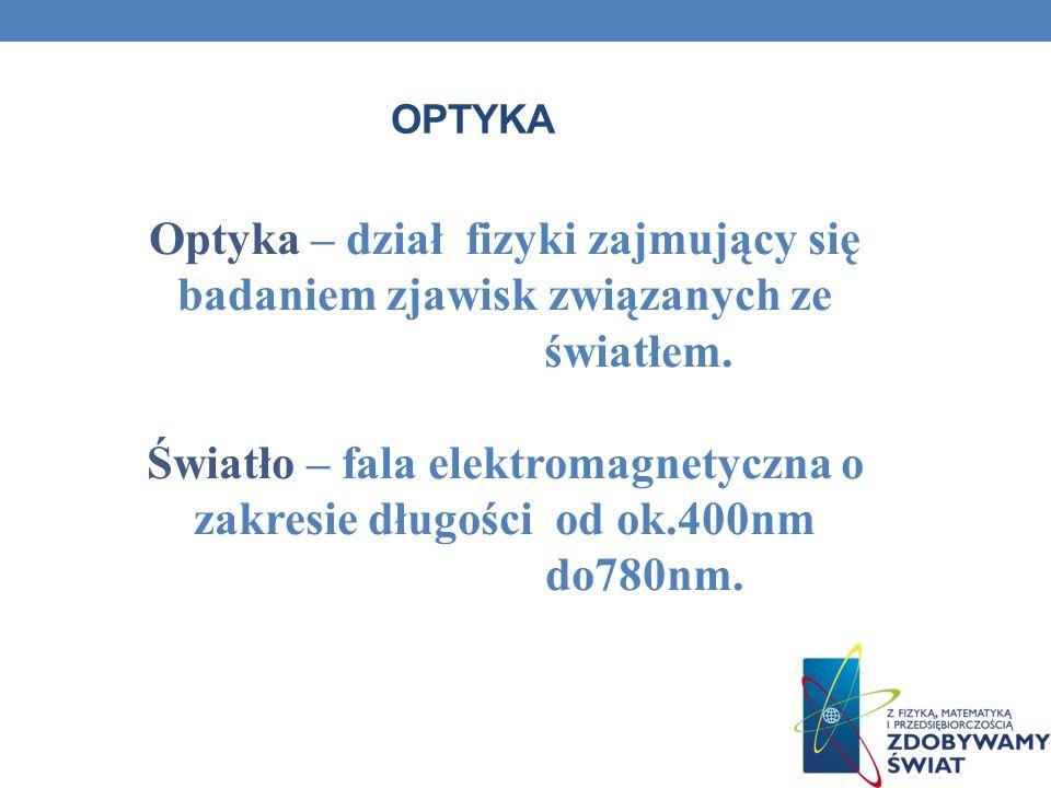 OPTYKA Optyka – dział fizyki zajmujący się badaniem zjawisk związanych ze światłem. Światło – fala elektromagnetyczna o zakresie długości od ok.400nm