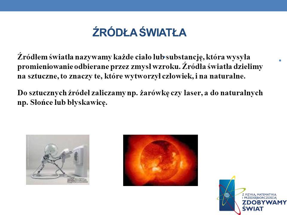 ŹRÓDŁA ŚWIATŁA Źródłem światła nazywamy każde ciało lub substancję, która wysyła promieniowanie odbierane przez zmysł wzroku.