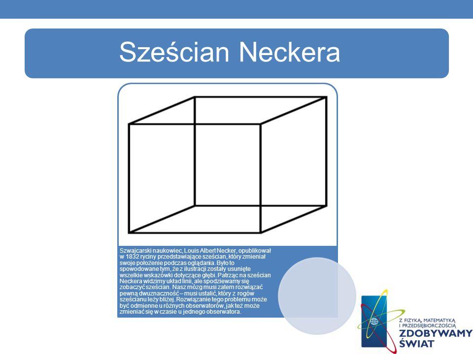 Sześcian Neckera Szwajcarski naukowiec, Louis Albert Necker, opublikował w 1832 ryciny przedstawiające sześcian, który zmieniał swoje położenie podczas oglądania.