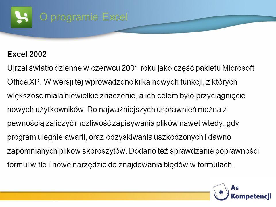 Excel 2002 Ujrzał światło dzienne w czerwcu 2001 roku jako część pakietu Microsoft Office XP. W wersji tej wprowadzono kilka nowych funkcji, z których