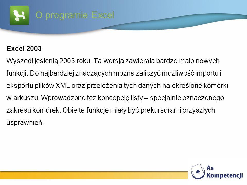 Excel 2003 Wyszedł jesienią 2003 roku. Ta wersja zawierała bardzo mało nowych funkcji. Do najbardziej znaczących można zaliczyć możliwość importu i ek