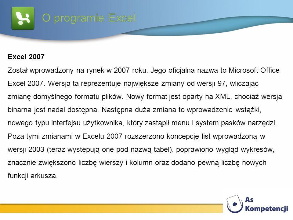 Excel 2007 Został wprowadzony na rynek w 2007 roku. Jego oficjalna nazwa to Microsoft Office Excel 2007. Wersja ta reprezentuje największe zmiany od w