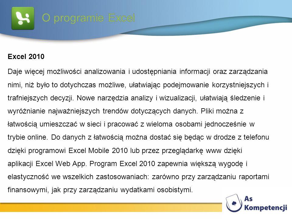 Excel 2010 Daje więcej możliwości analizowania i udostępniania informacji oraz zarządzania nimi, niż było to dotychczas możliwe, ułatwiając podejmowan