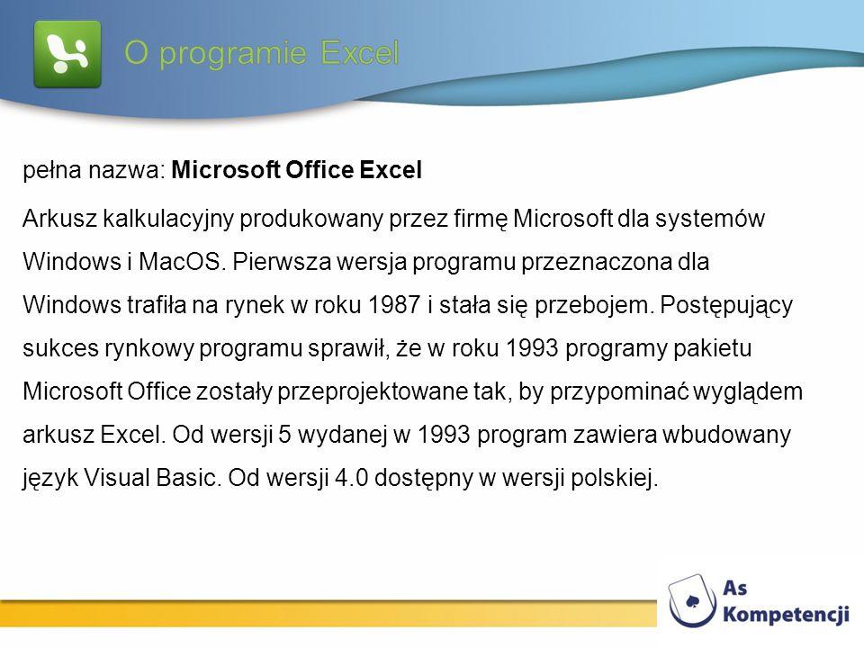 pełna nazwa: Microsoft Office Excel Arkusz kalkulacyjny produkowany przez firmę Microsoft dla systemów Windows i MacOS. Pierwsza wersja programu przez