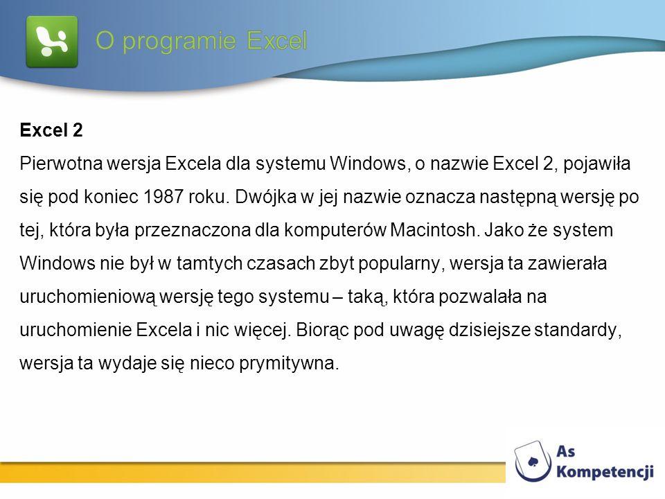 Excel 2 Pierwotna wersja Excela dla systemu Windows, o nazwie Excel 2, pojawiła się pod koniec 1987 roku. Dwójka w jej nazwie oznacza następną wersję
