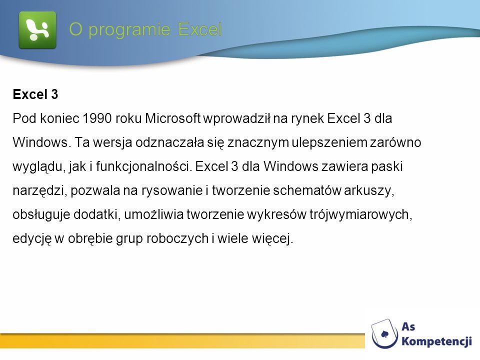 Excel 3 Pod koniec 1990 roku Microsoft wprowadził na rynek Excel 3 dla Windows. Ta wersja odznaczała się znacznym ulepszeniem zarówno wyglądu, jak i f