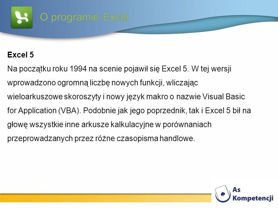 Excel 5 Na początku roku 1994 na scenie pojawił się Excel 5. W tej wersji wprowadzono ogromną liczbę nowych funkcji, wliczając wieloarkuszowe skoroszy