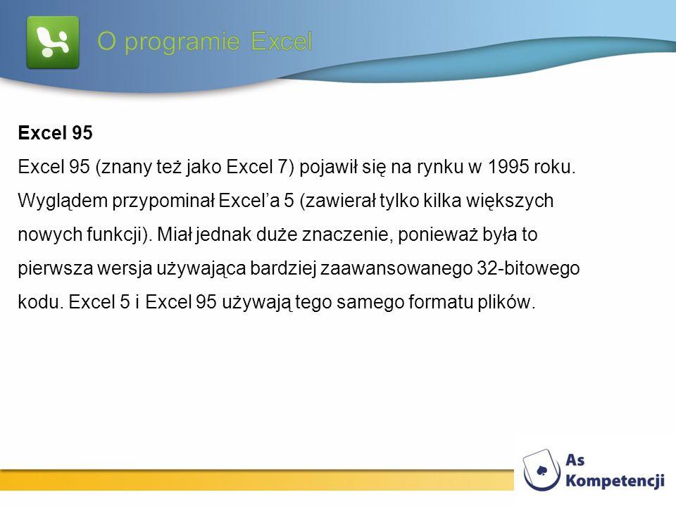 Excel 95 Excel 95 (znany też jako Excel 7) pojawił się na rynku w 1995 roku. Wyglądem przypominał Excela 5 (zawierał tylko kilka większych nowych funk