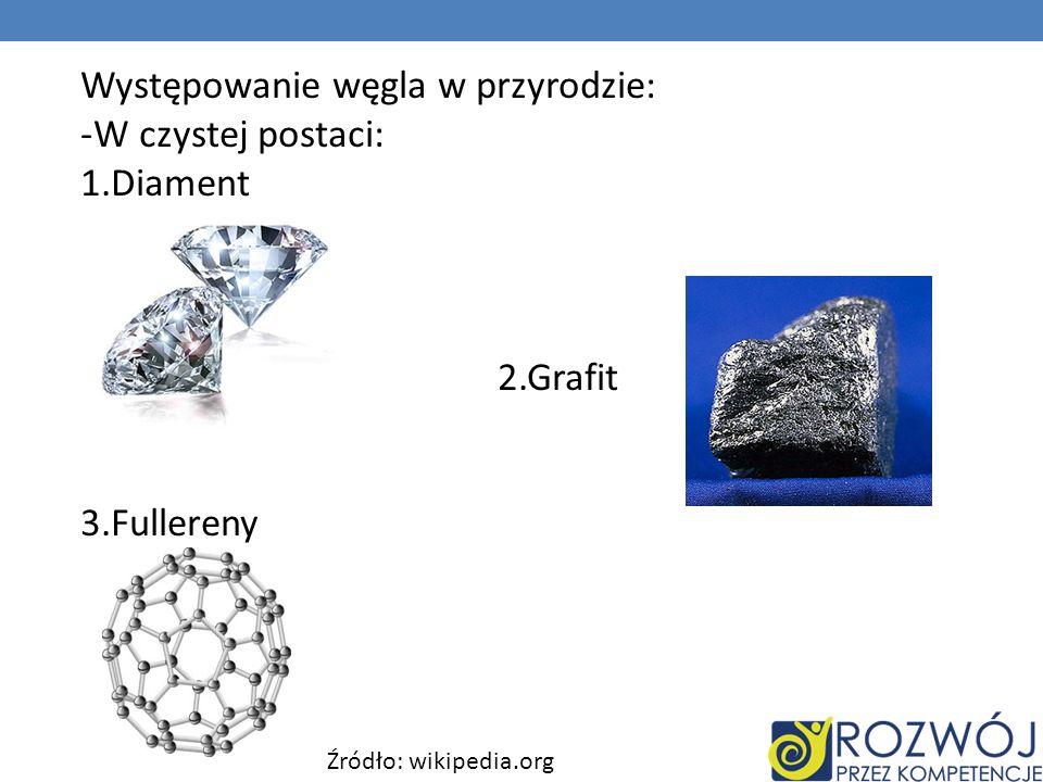 Występowanie węgla w przyrodzie: -W czystej postaci: 1.Diament 2.Grafit 3.Fullereny Źródło: wikipedia.org