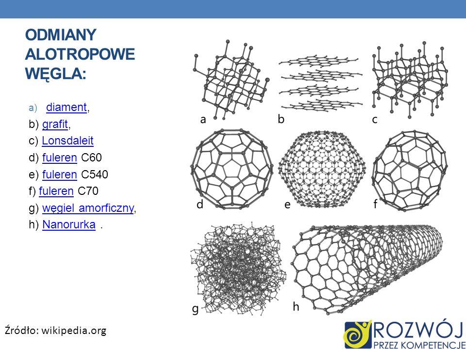 a) diament, diament b) grafit,grafit c) LonsdaleitLonsdaleit d) fuleren C60fuleren e) fuleren C540fuleren f) fuleren C70fuleren g) węgiel amorficzny,w