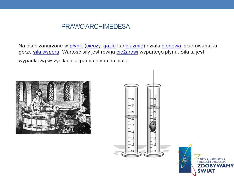 PRAWO ARCHIMEDESA Na ciało zanurzone w płynie (cieczy, gazie lub plazmie) działa pionowa, skierowana ku górze siła wyporu. Wartość siły jest równa cię