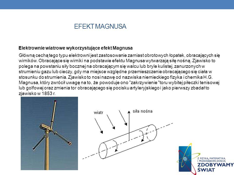EFEKT MAGNUSA Elektrownie wiatrowe wykorzystujące efekt Magnusa Główną cechą tego typu elektrowni jest zastosowanie zamiast obrotowych łopatek, obraca