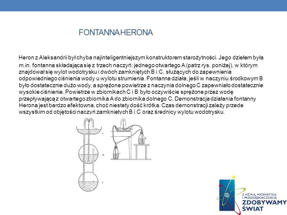 FONTANNA HERONA Heron z Aleksandrii był chyba najinteligentniejszym konstruktorem starożytności. Jego dziełem była m.in. fontanna składająca się z trz