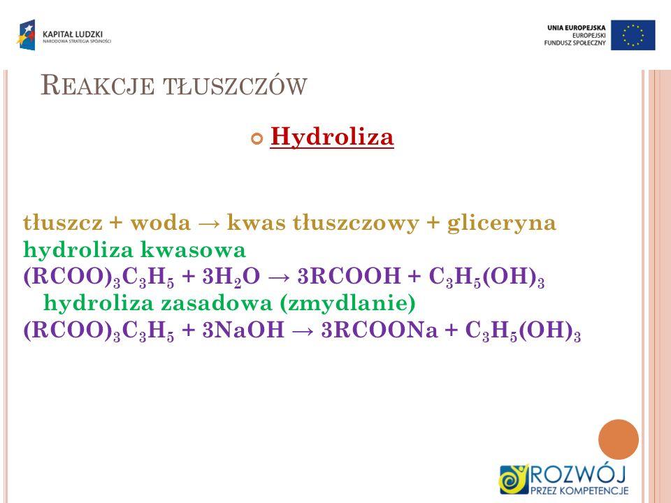 R EAKCJE TŁUSZCZÓW Hydroliza tłuszcz + woda kwas tłuszczowy + gliceryna hydroliza kwasowa (RCOO) 3 C 3 H 5 + 3H 2 O 3RCOOH + C 3 H 5 (OH) 3 hydroliza
