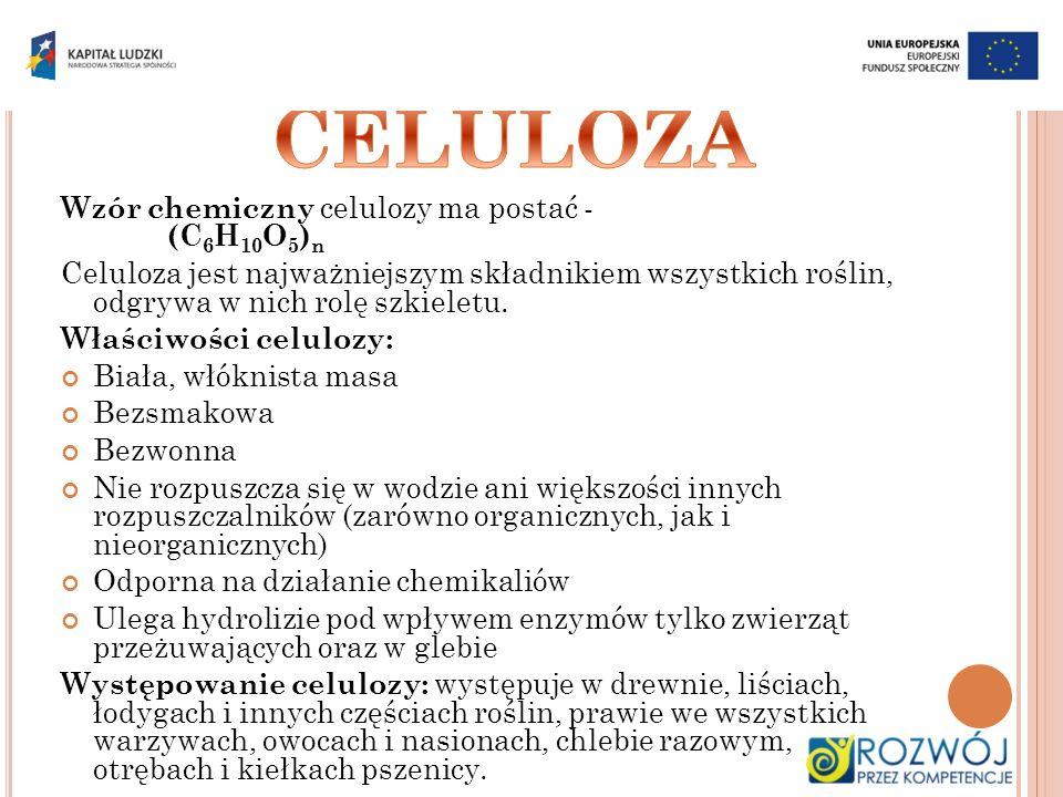 Wzór chemiczny celulozy ma postać - (C 6 H 10 O 5 ) n Celuloza jest najważniejszym składnikiem wszystkich roślin, odgrywa w nich rolę szkieletu. Właśc